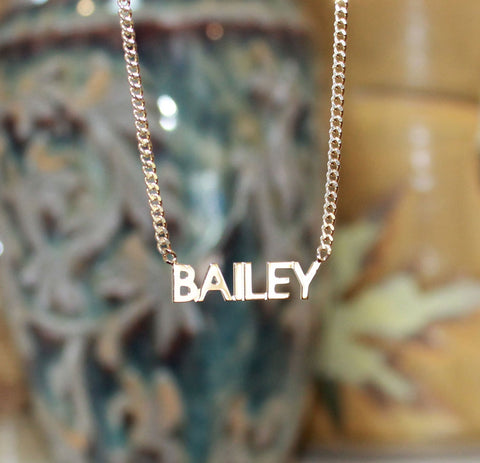 Petite Block Nameplate Necklace
