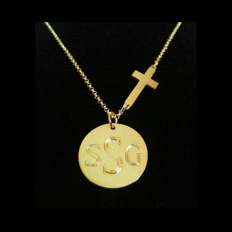 Engraved Disc with Sideways Cross Necklace