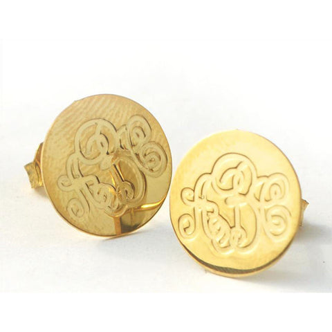 Round Monogram Stud Earrings