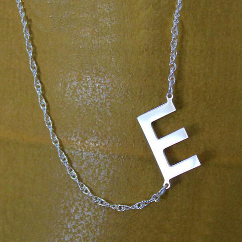 Sideways Initial Necklace - 3/4 Inch