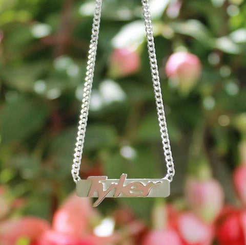 Silver Raised Nameplate Bar Necklace
