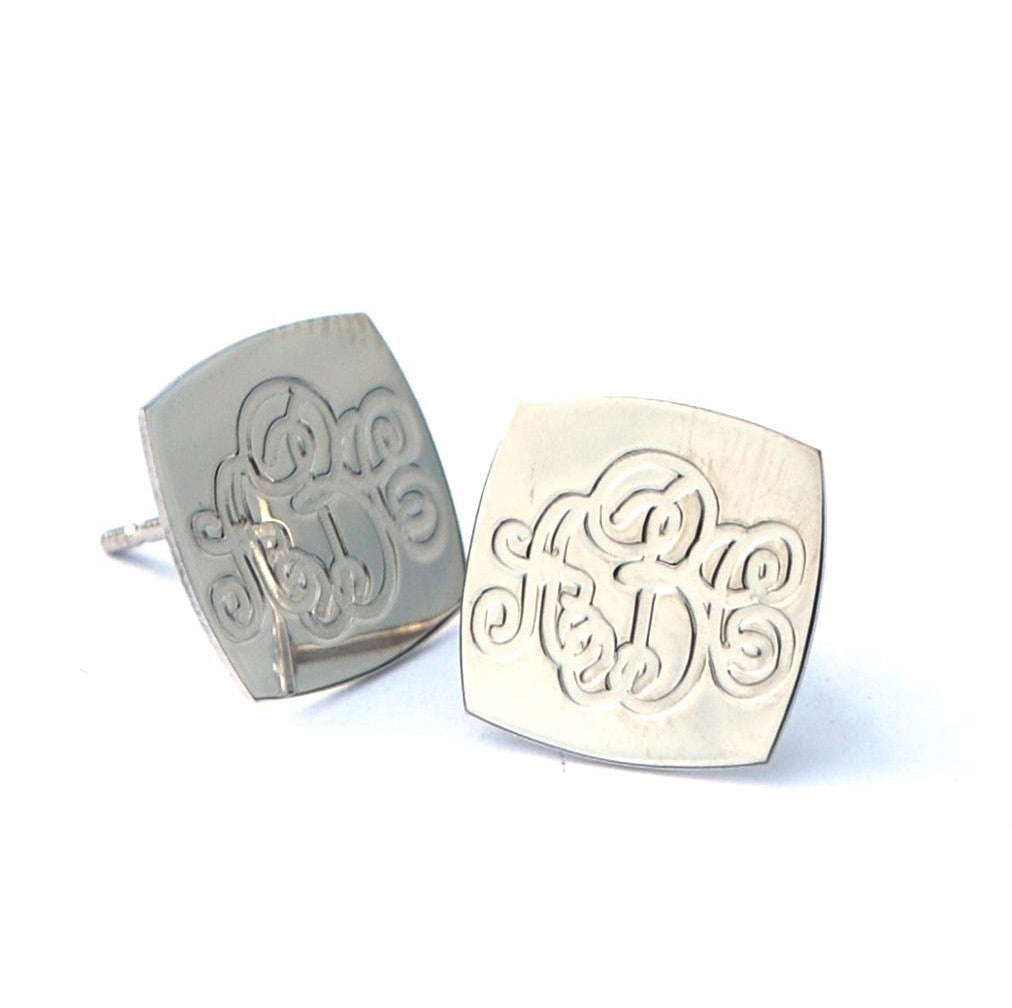 Square Monogram Stud Earrings