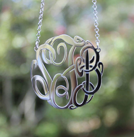 Monogram Necklace - Sterling Silver Fancy Script