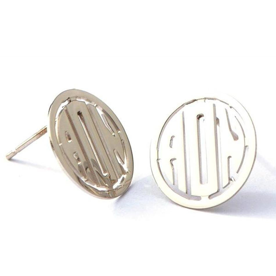 Sterling Silver Rimmed Monogram Post Earrings
