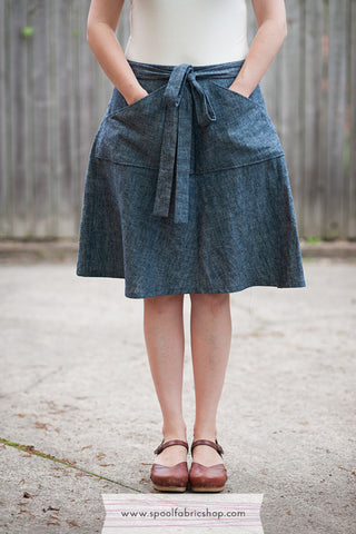 Miette Wrap skirt in Indigo denim