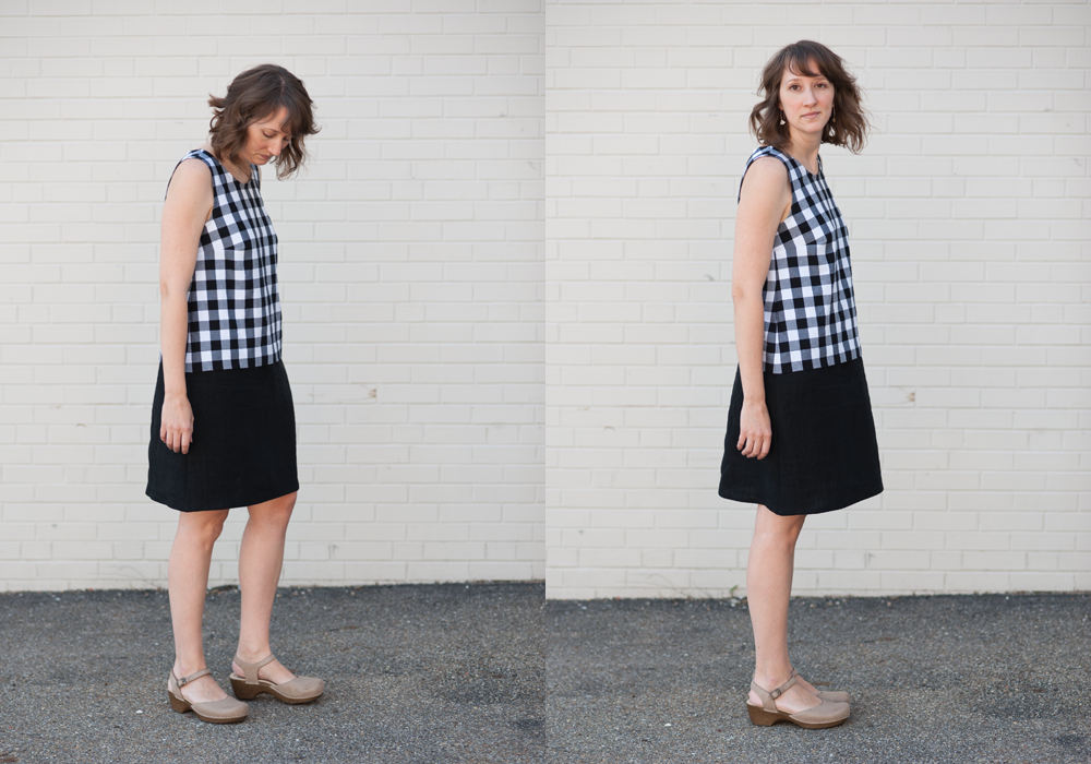 Grainline Willow Tank Dress Black Gingham and Linen - Spool Fabric Shop | Pittsburgh