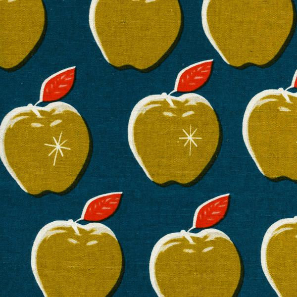 Picnic Canvas Apples in Teal and Mustard