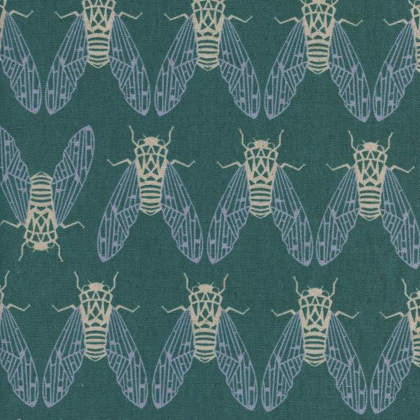 Cicada Song Cotton/Linen Canvas in Mist - Raindrop Collection