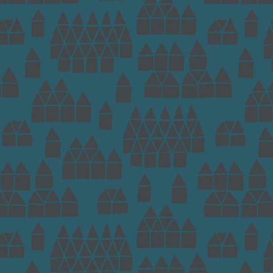 Maker Maker - Village on Tailored Cloth in Blue