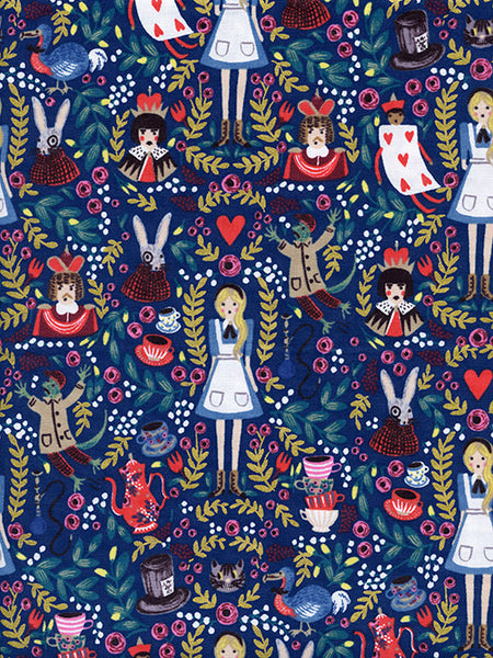 Alice in Wonderland Navy Metallic print quilting cotton by Rifle Paper Co. for Cotton + Steel - Spool Fabric shop Pittsburgh
