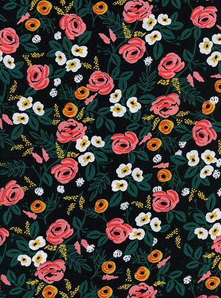 Rifle Paper Co. Wonderland floral rayon in black - Cotton + Steel - Spool Fabric Shop Pittsburgh