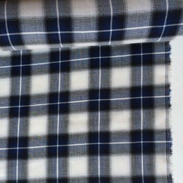 Blue and Black Plaid Fine Cotton Fabric at Spool Pittsburgh