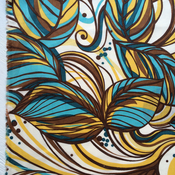 Bold Floral Print - Blue Brown and Yellow Cotton at Spool Pittsburgh