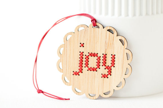 Bamboo Cross Stitch Holiday Ornament