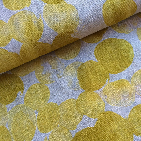 Polka Dot Linen Gauze - yellow