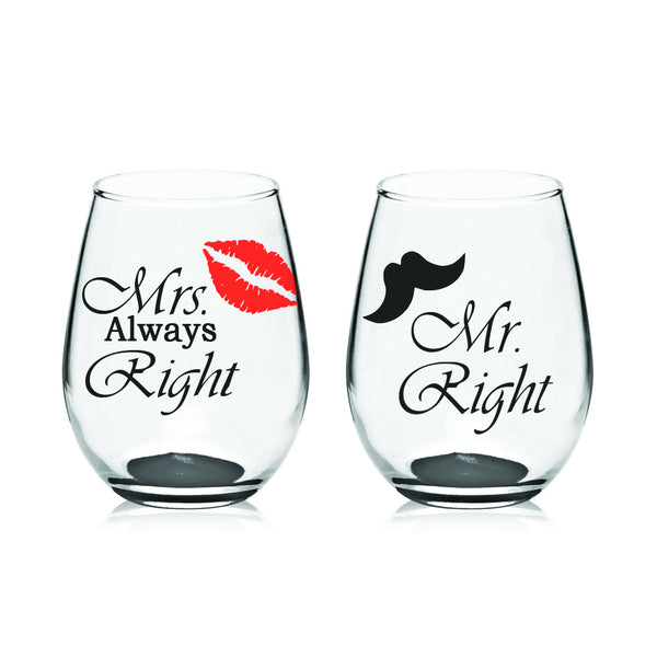Mr. & Mrs. Wine Glasses