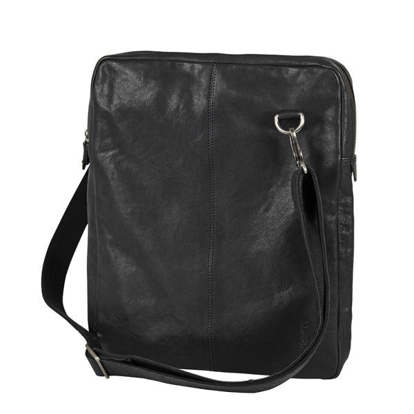 Computer bag black leather hook