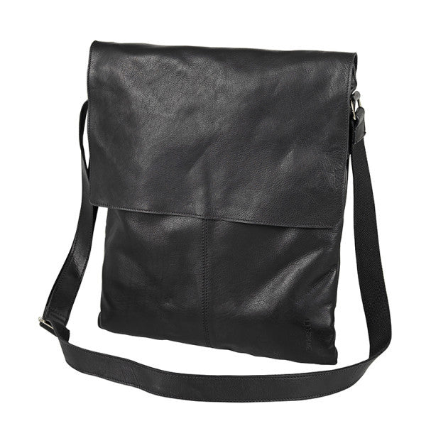 Computer bag black leather flap