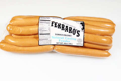 *Ferraro's 3lb Natural Casing Franks  $13.49   Sale Price $10.99