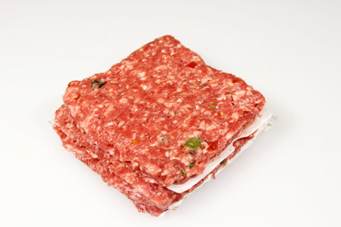 Beef Pepper Steak Burgers  $4.99lb - $5.29lb