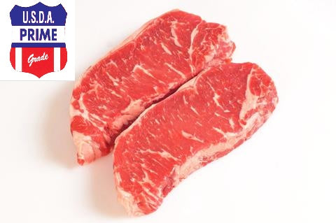***U.S.D.A. Prime Grade Beef New York Strip Steaks - Boneless Sale  $14.99lb