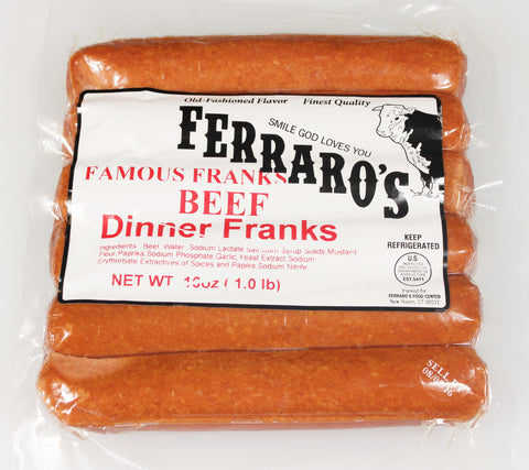 Ferraro's 1lb Beef Dinner Franks (Skinless)  $5.99