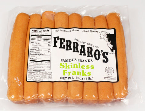 Ferraro's 1lb Skinless Franks - 8 to the pound  $4.49