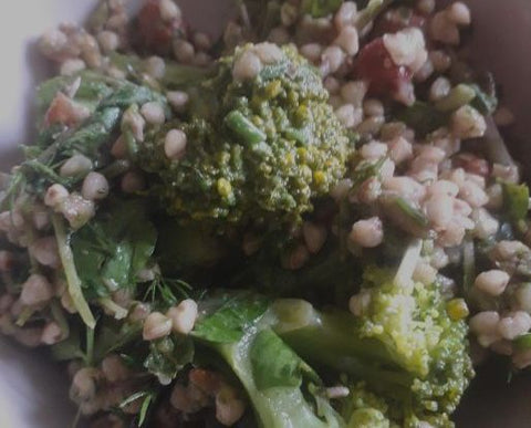Green buckwheat salad with a watercress dressing