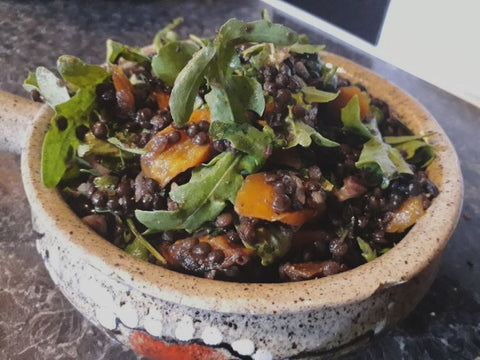 Lentil salad with cumin roasted carrots