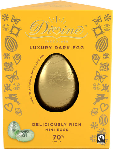Divine Luxury Dark Chocolate Easter Egg with Mini Eggs