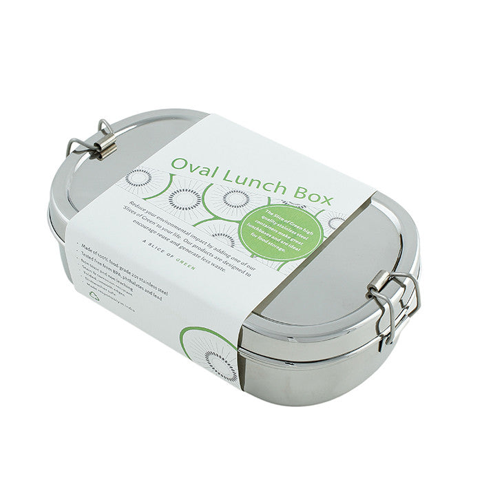 Slice Of Green Oval Lunchbox With A Mini Container