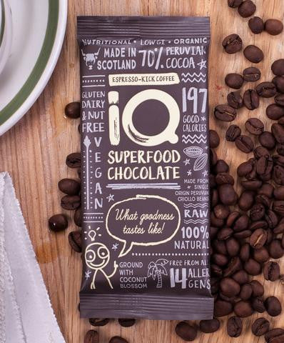 iQ Superfood Chocolate 70% - Espresso-Kick Coffee
