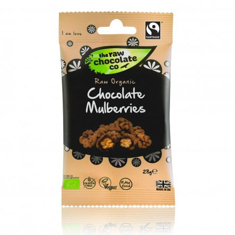 The Raw Chocolate Co. Chocolate Mulberries (Snackpack and Pouch)