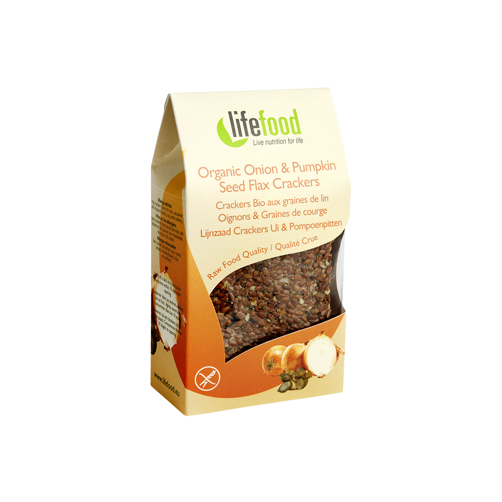 Lifefood Organic Onion & Pumpkin Seed Flax Crackers