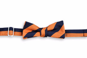 All American Stripe Boy's Bow Tie - Orange and Navy
