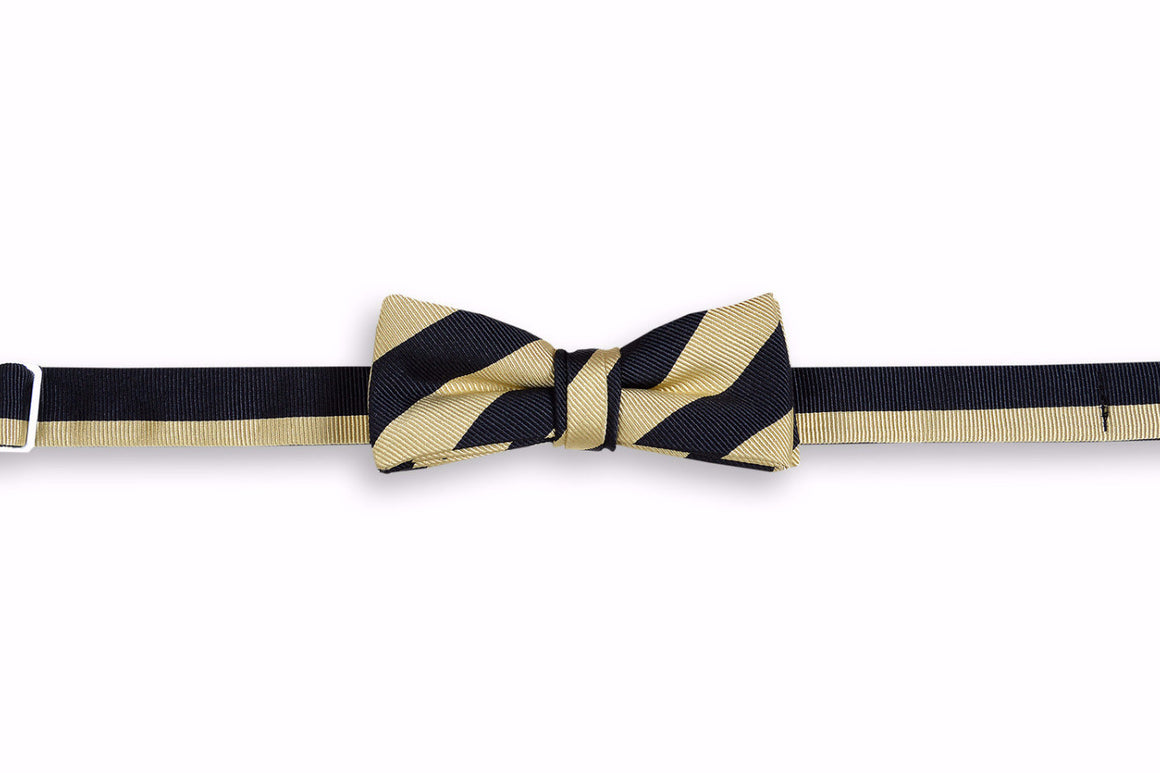 All American Stripe Boy's Bow Tie - Black and Gold