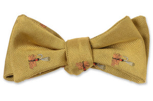 Trout Fly Bow Tie - Gold