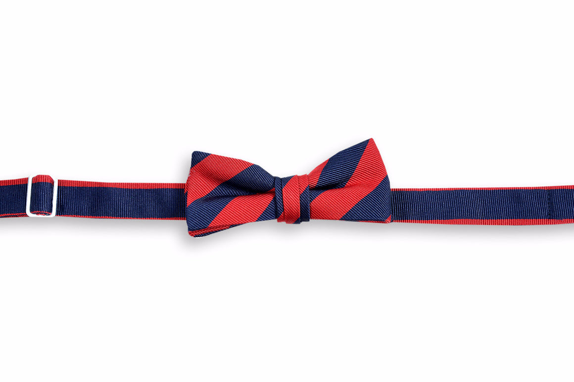 All American Stripe Boy's Bow Tie - Red and Navy