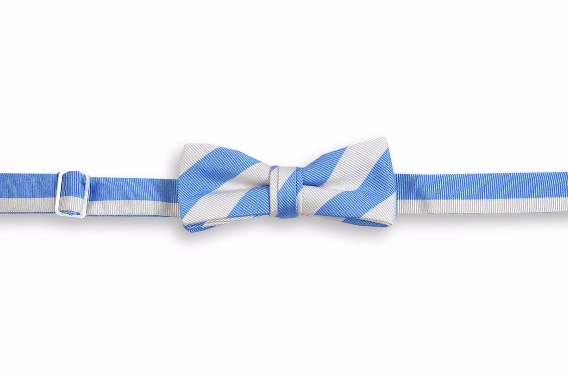 All American Stripe Boy's Bow Tie - Carolina and White