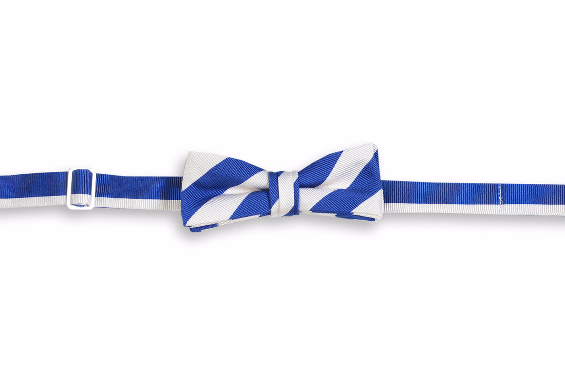 All American Stripe Boy's Bow Tie - Royal and White