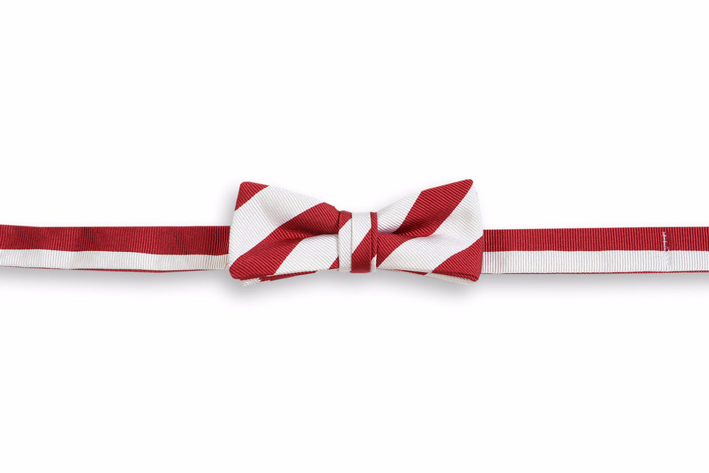 All American Stripe Boy's Bow Tie - Crimson and White
