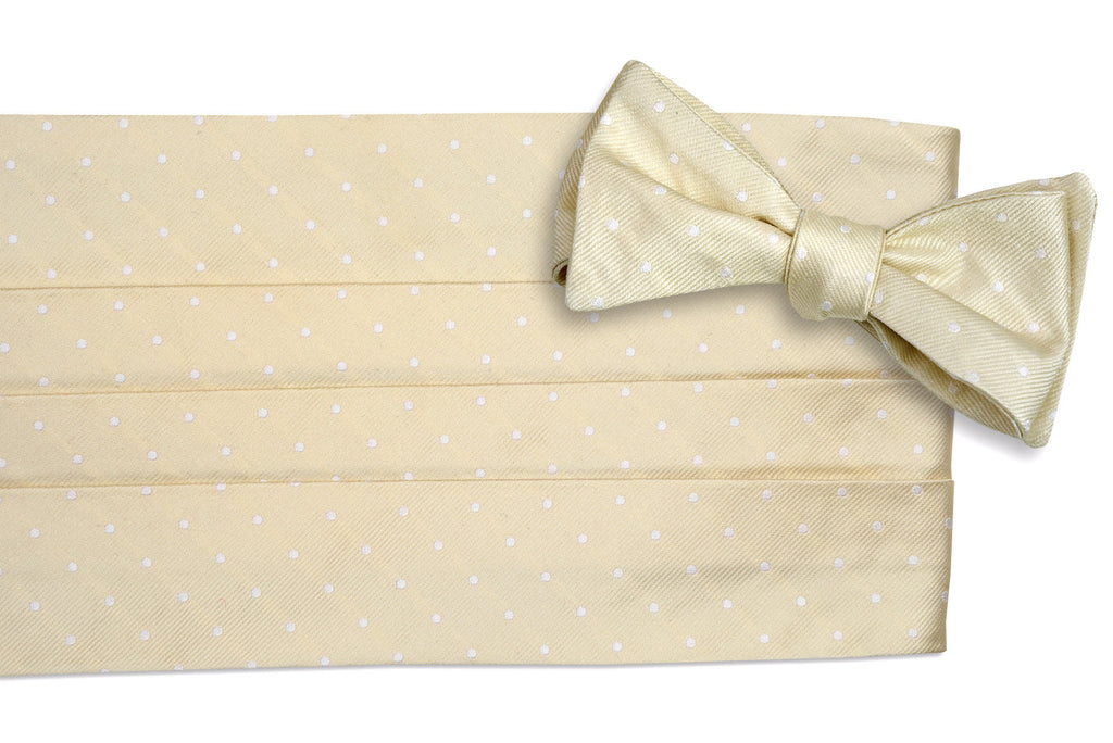 Light Champagne Dot Cummerbund Set
