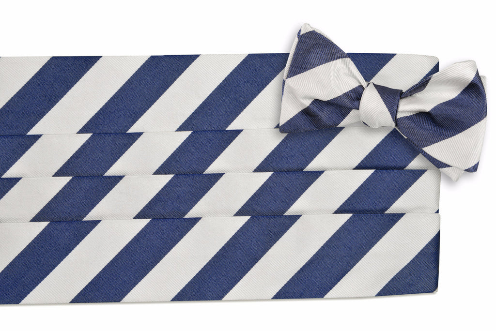 Classic Navy and White Stripe Cummerbund Set