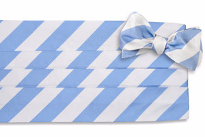 Cornflower and White Stripe Cummerbund Set