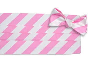 True Pink and White Stripe Cummerbund Set
