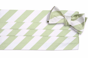 Spring Green and White Stripe Cummerbund Set