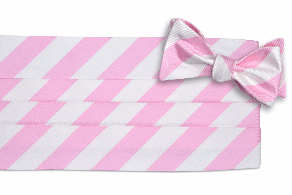 Pale Pink and White Stripe Cummerbund Set