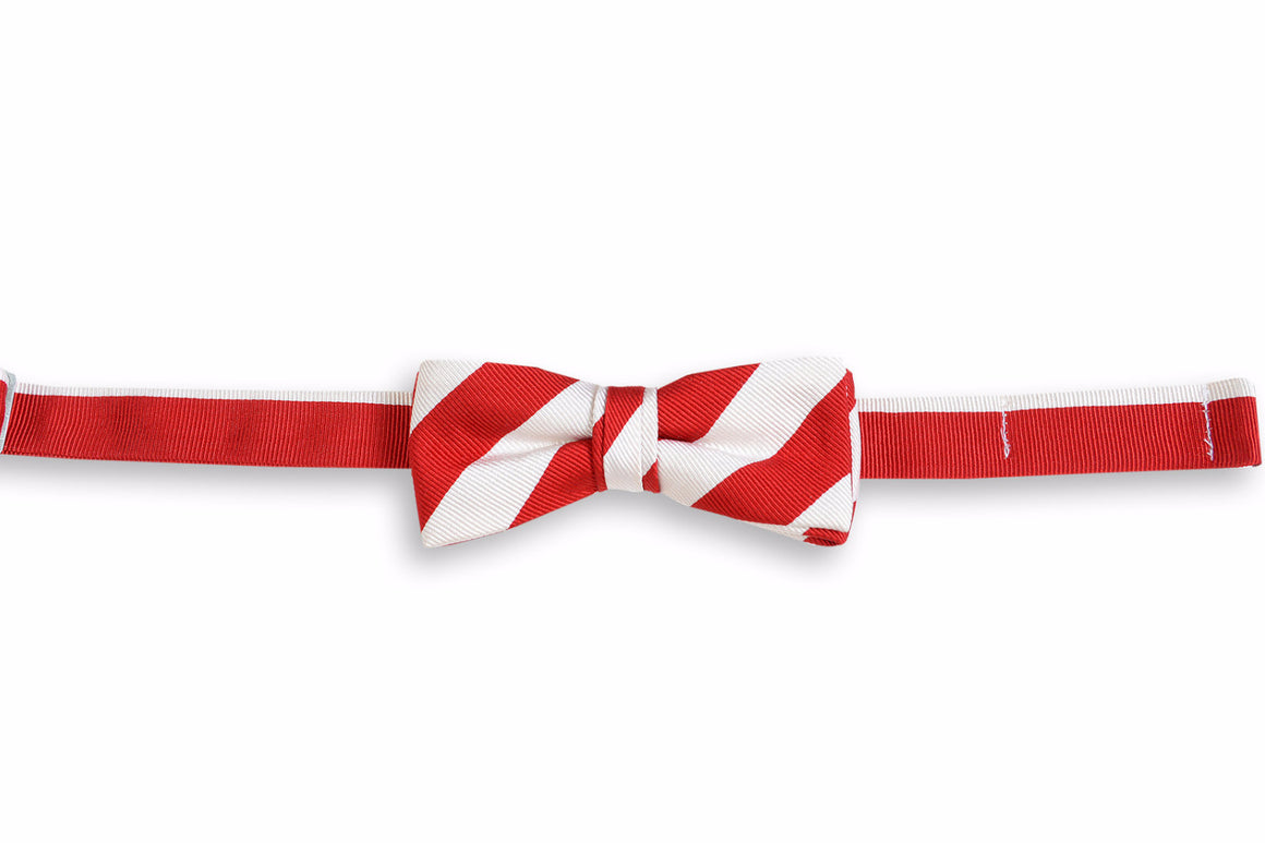 All American Stripe Boy's Bow Tie - Red and White