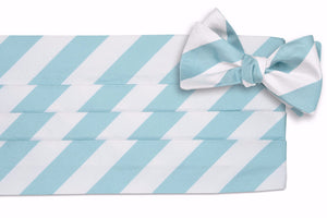 Misty Seafoam and White Stripe Cummerbund Set