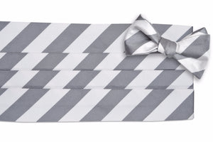 Dusty Gray and White Stripe Cummerbund Set